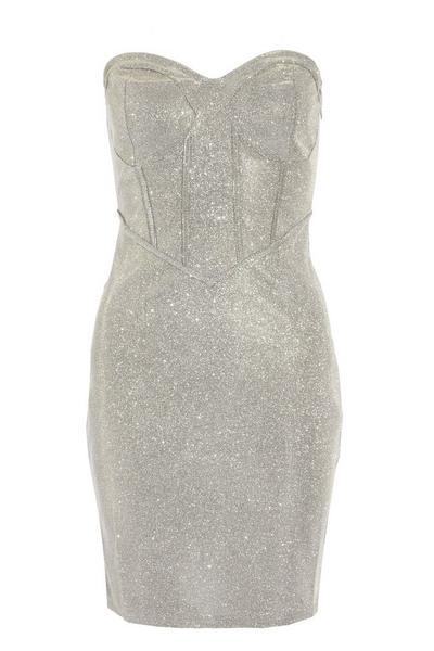 Silver Shimmer Corset Mini Bodycon Dress