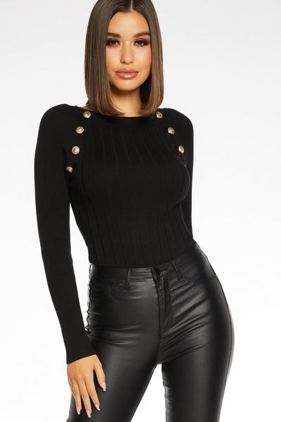 Black Button Detail Top