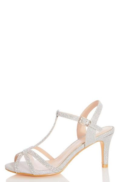 Silver Shimmer Low Heeled Sandal