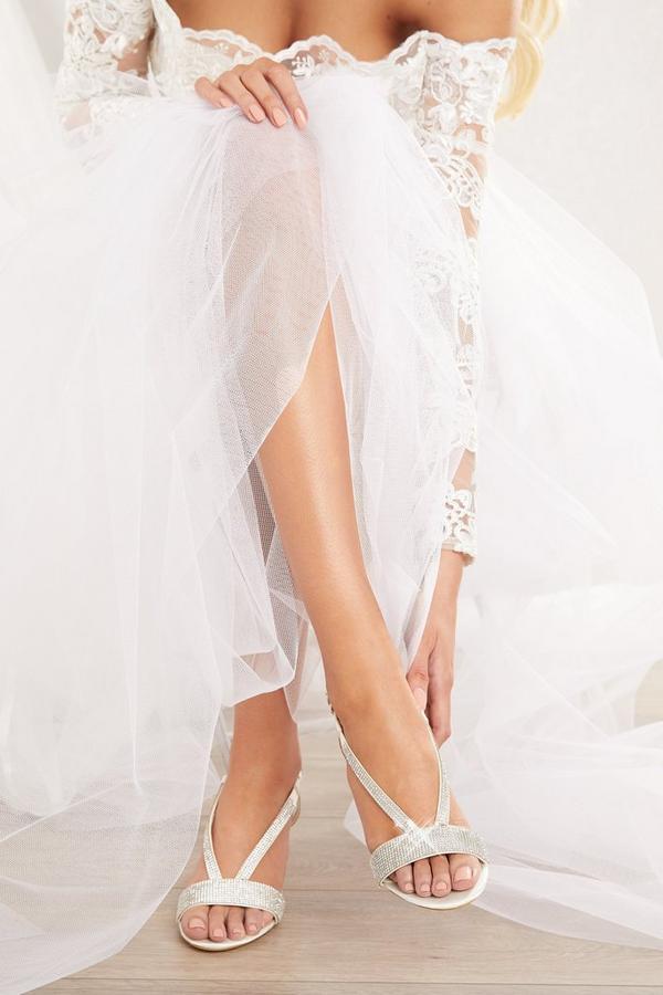 Bridal White Satin Diamante Heeled Sandals