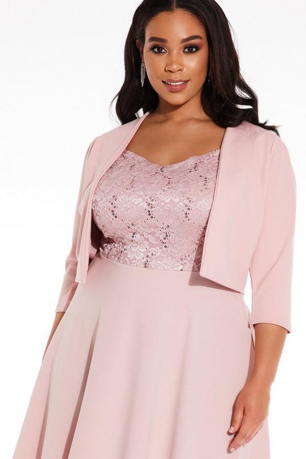 Plus Size Pink Puff Sleeve Crop Jacket