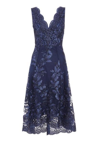 Navy Embroidered Dip Hem Dress