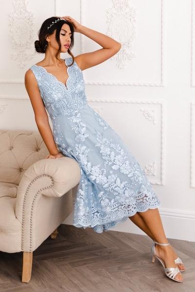 Blue Embroidered Dip Hem Dress