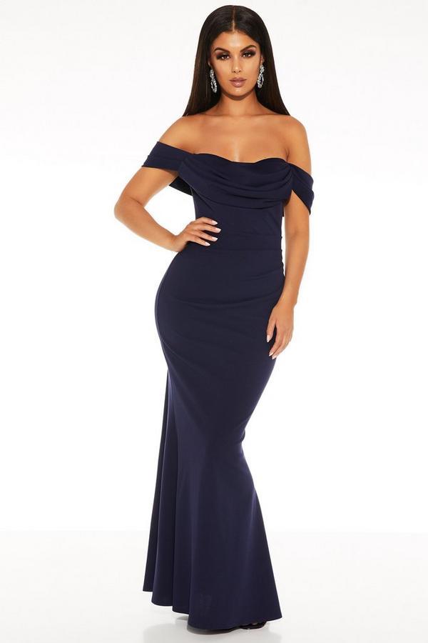 Vestido Largo Azul Marino Bardot