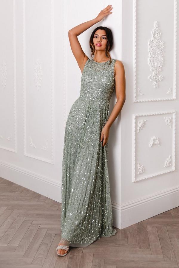 Sage Sequin Maxi Dress