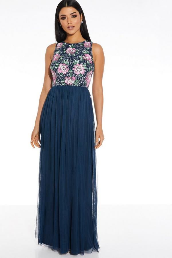 Navy Floral Sequin Maxi Dress