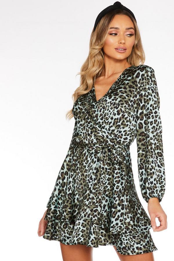 Vestido Caqui Satinado de Leopardo