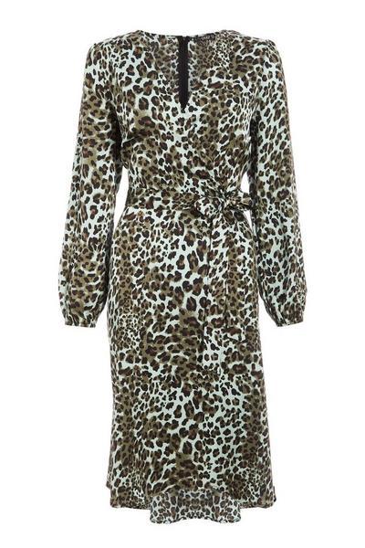 Khaki Animal Print Dip Hem Dress