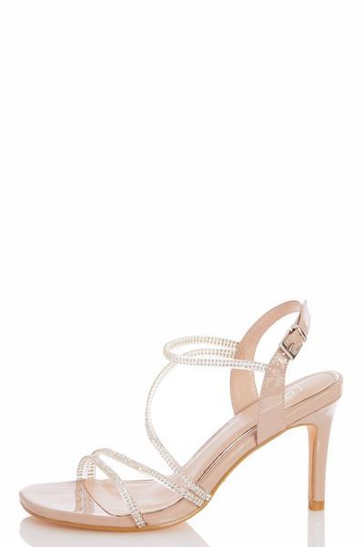 Nude Patent Diamante Strap Heel