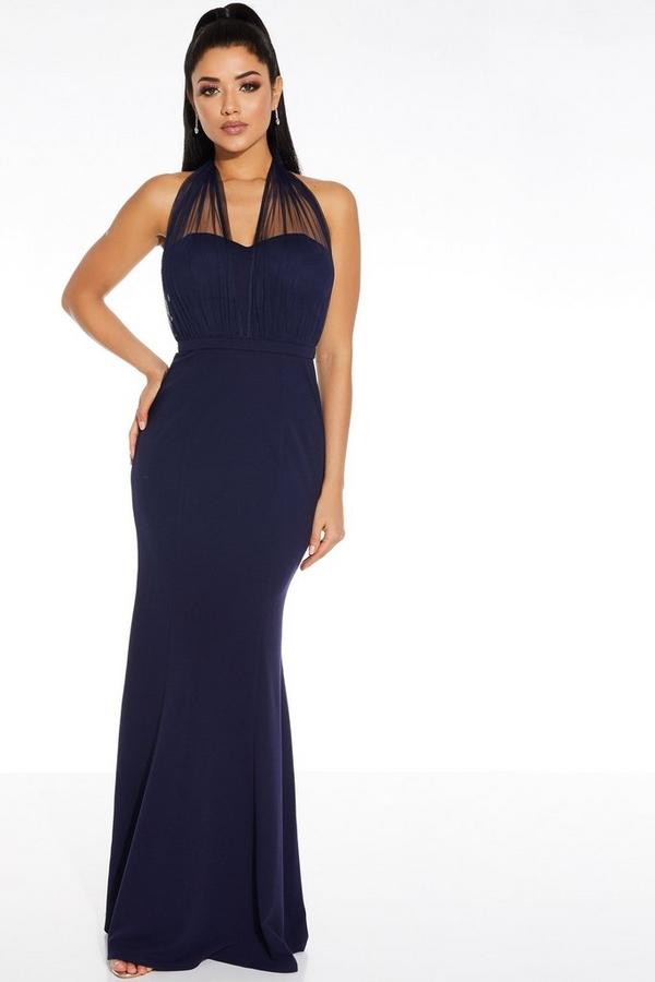 Navy Mesh Halterneck Maxi Dress