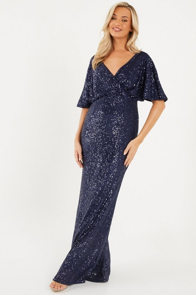 Navy Sequin Wrap Maxi Dress