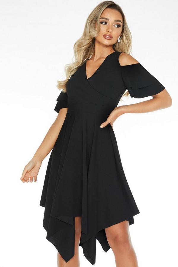 Black Cold Shoulder Midi Dress
