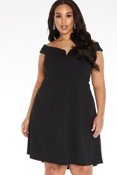 Curve Black Bardot Dip Hem Dress