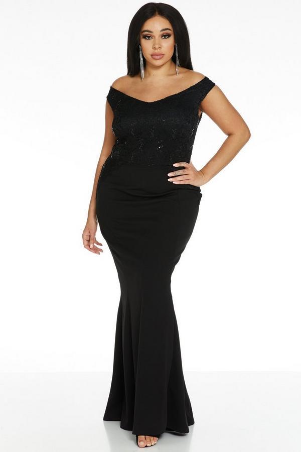 Vestido Curve Largo Negro Bardot