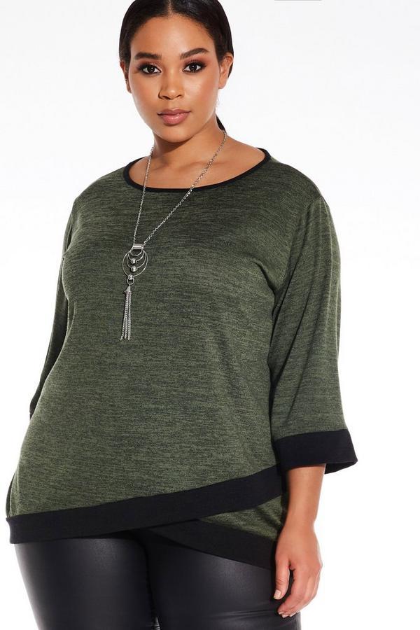 Plus Size Khaki Necklace Top