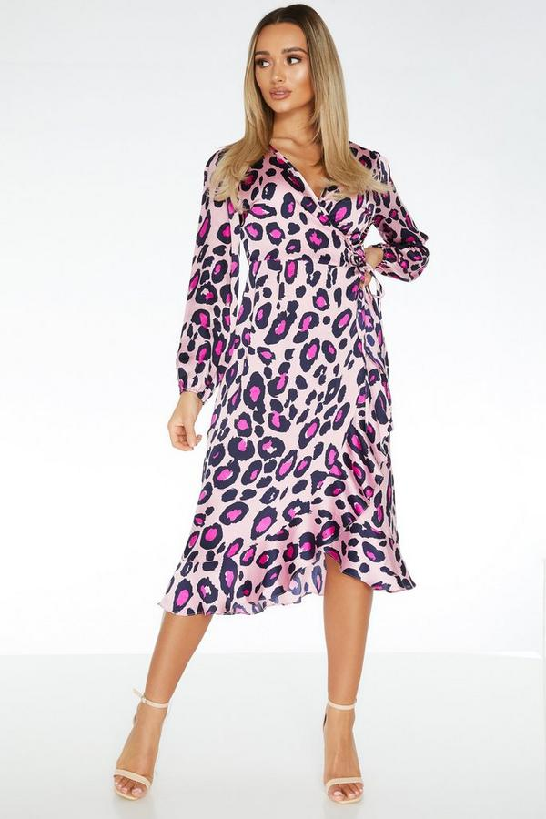 Pink Satin Leopard Print Midi Dress