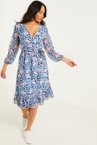 Blue Floral Wrap Midi Dress