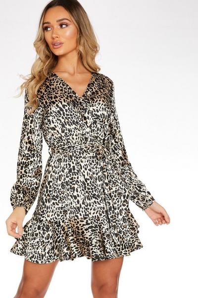 Brown Satin Leopard Print Dress