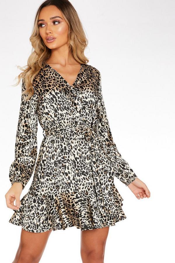 Vestido Satinado Marrón con Estampado de Leopardo