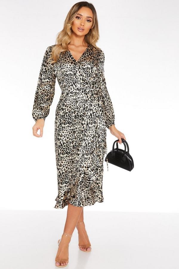 Brown Satin Leopard Print Midi Dress