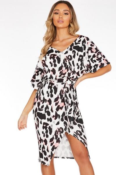 White Leopard Print Midi Dress