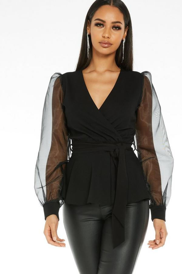Black Wrap Puff Sleeve Top