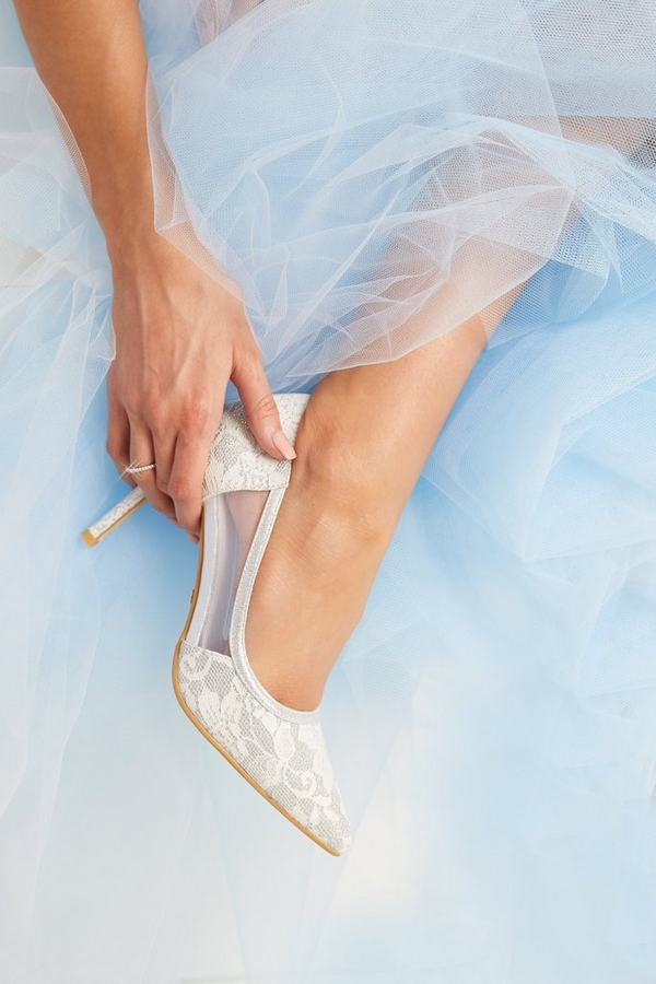 Bridal White Lace Mesh Courts