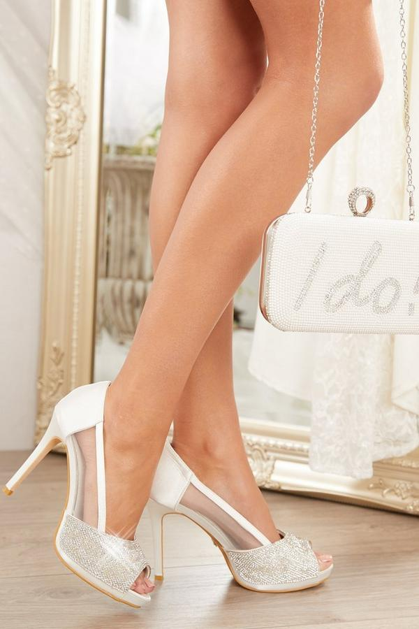Bridal White Satin Diamante Heels