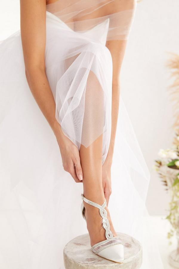 Bridal White Satin T-Bar Courts