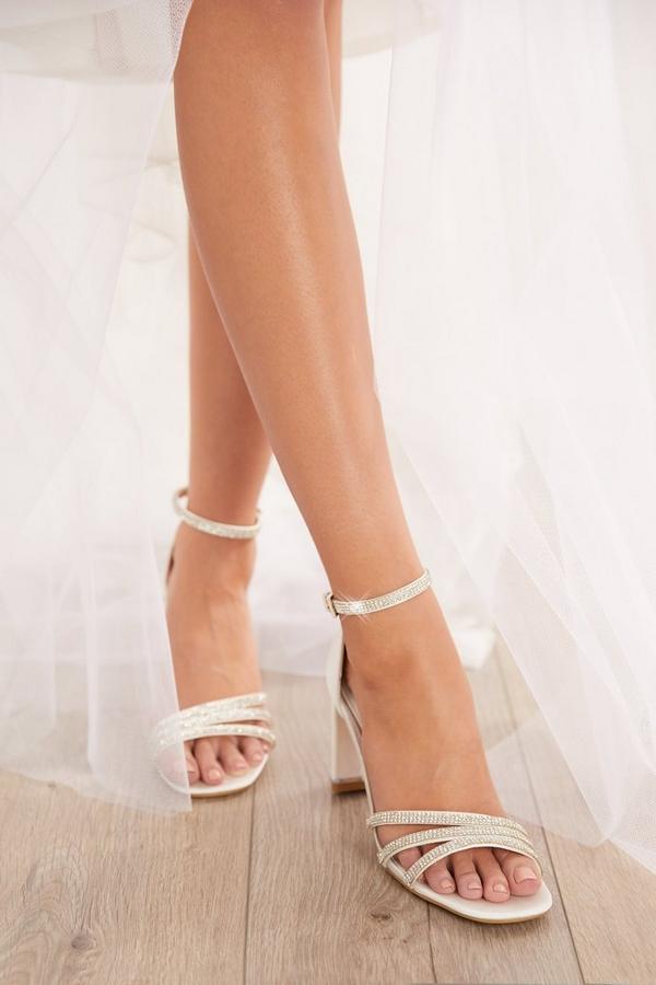 Bridal White Diamante Heeled Sandals