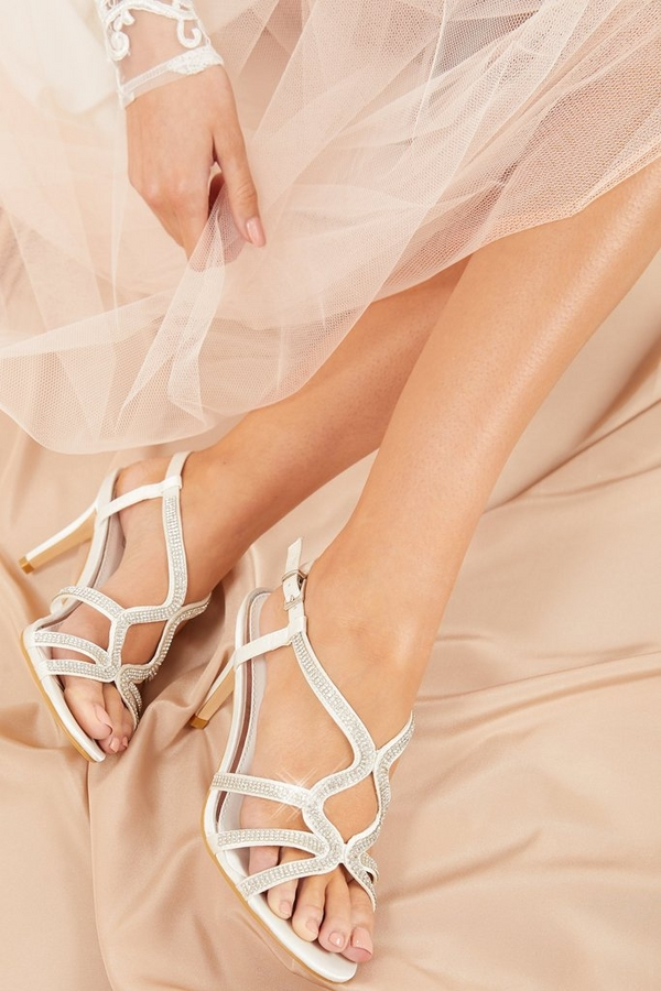 Bridal White Diamante Heeled Sandals