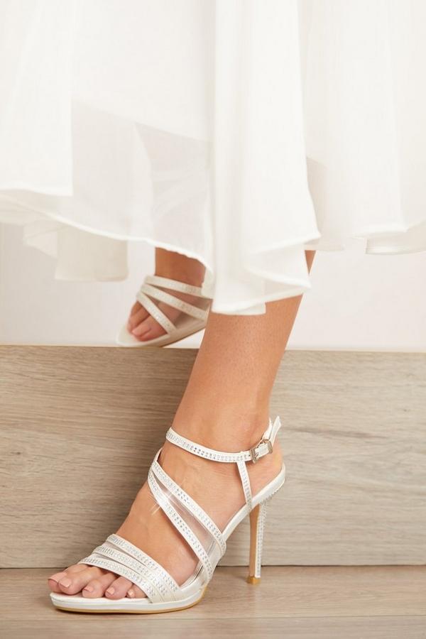 Bridal White Diamante Heeled Sandal