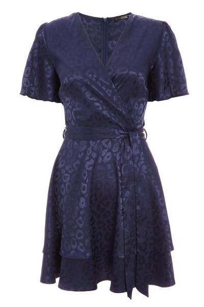 Navy Satin Wrap Dress