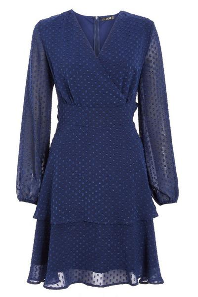 Navy Double Layer Wrap Dress