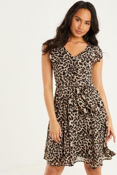 Brown Leopard Print Frill Dress