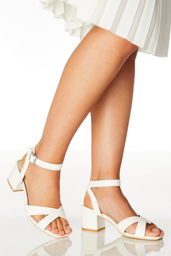 Wide Fit White Faux Leather Sandals
