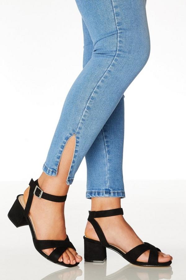 Wide Fit Black Faux Suede Sandals