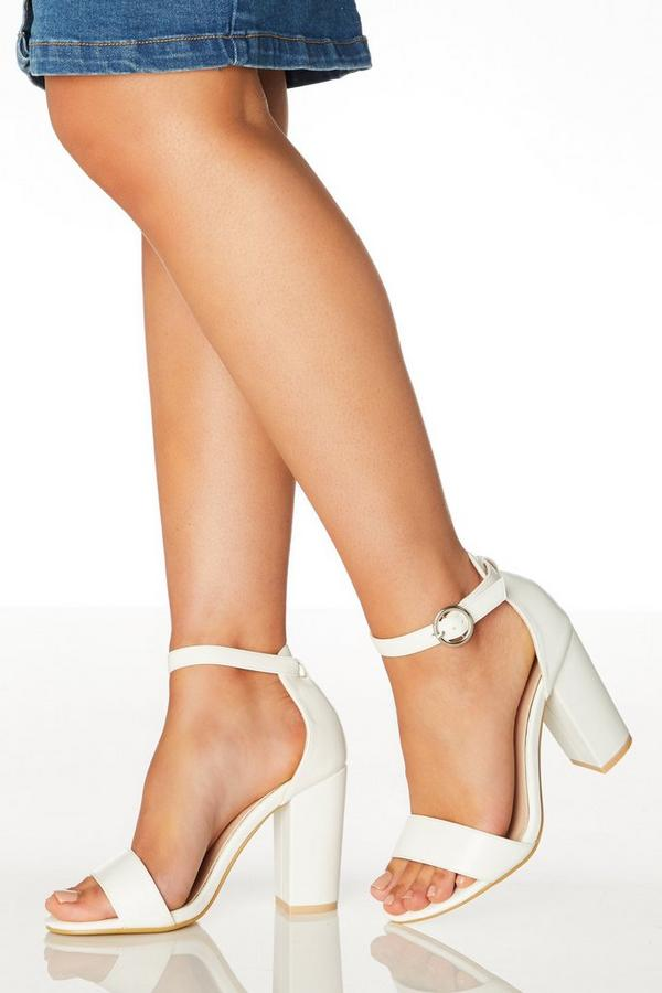 Wide Fit White Block Heeled Sandals