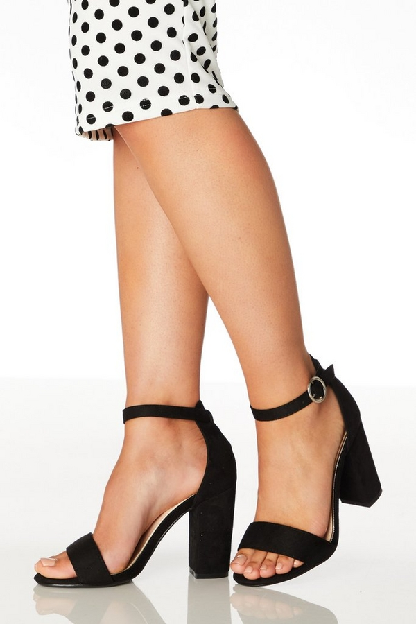 Wide Fit Black Block Heeled Sandals