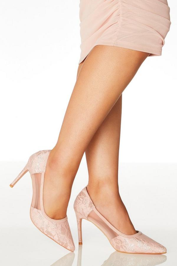 Wide Fit Pink Lace Mesh Courts