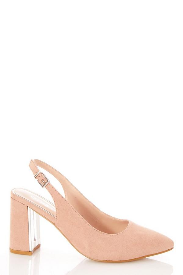 Wide Fit Pink Faux Suede Slingback Courts