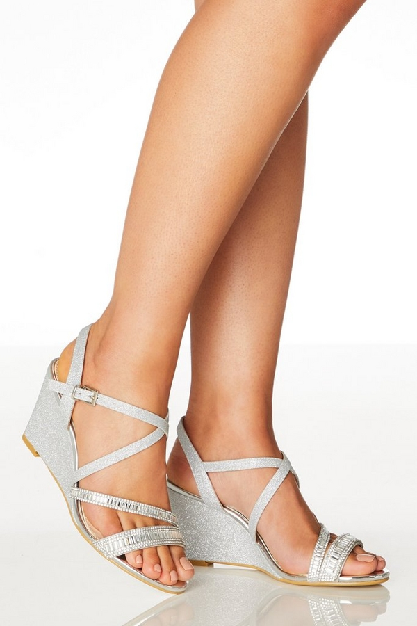 Wide Fit Silver Diamante Wedges