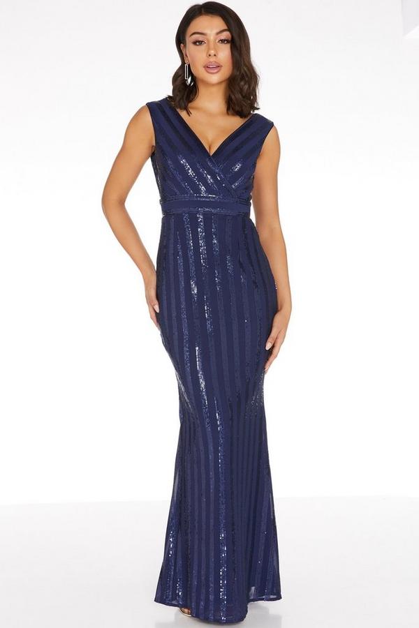 Navy Sequin Stripe Maxi Dress