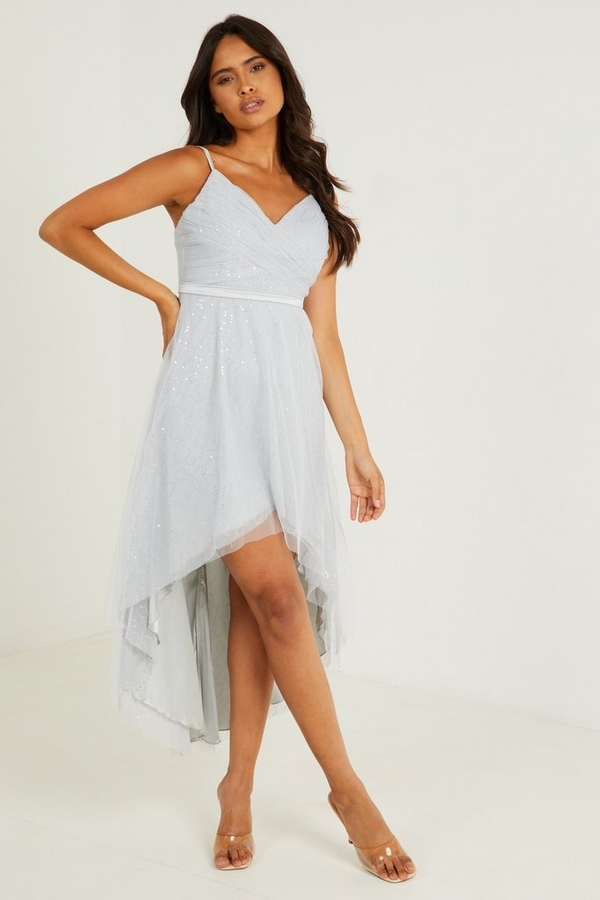 Grey Sequin Dip Hem Dress