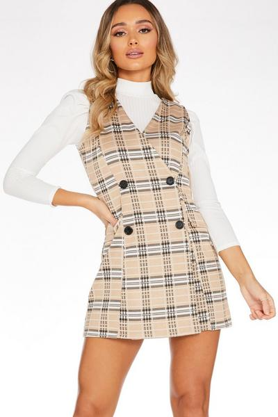 Stone Check Bodycon Wrap Dress
