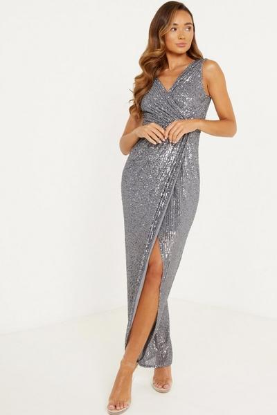 Grey Sequin Wrap Maxi Dress