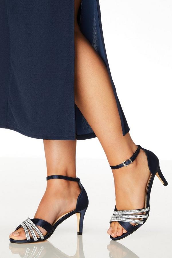 Wide Fit Navy Diamante Low Heel Sandals