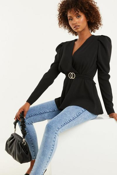 Black Puff Sleeve Peplum Top