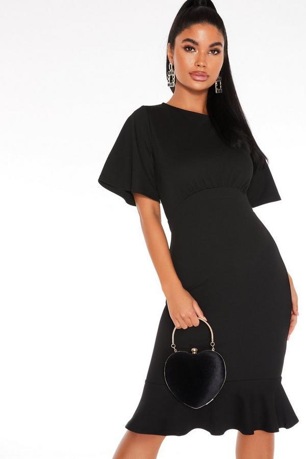 Petite Black Frill Hem Midi Dress