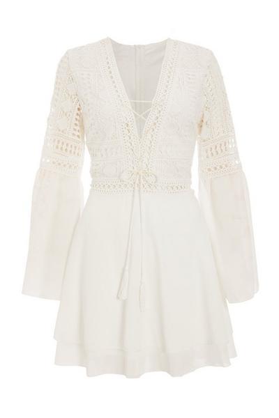 Cream Crochet V Neck Dress